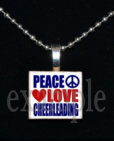 PEACE LOVE Cheer Cheerleader Scrabble Necklace Pendant Charm or Key-chain