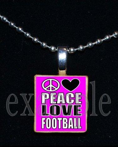 PEACE LOVE FOOTBALL Scrabble Tile Necklace Charm Keychain