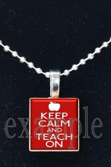 Keep Calm and Teach On Scrabble Tile Pendant Necklace Charm Key-chain