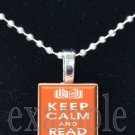 Keep Calm and Read On Scrabble Tile Pendant Necklace Charm Key-chain