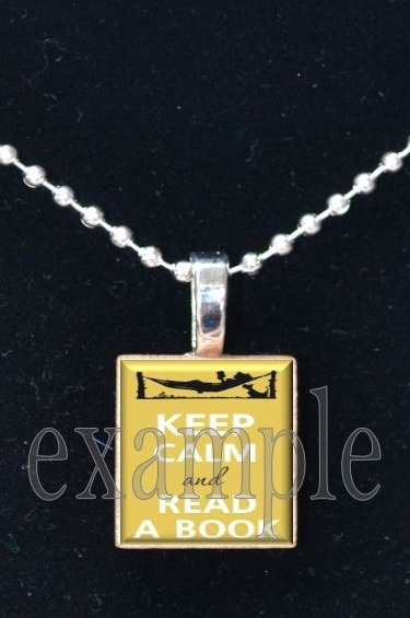 Keep Calm and Read A Book Scrabble Tile Pendant Necklace Charm Key-chain