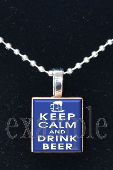 Keep Calm and Drink Beer Scrabble Tile Pendant Necklace Charm Key-chain