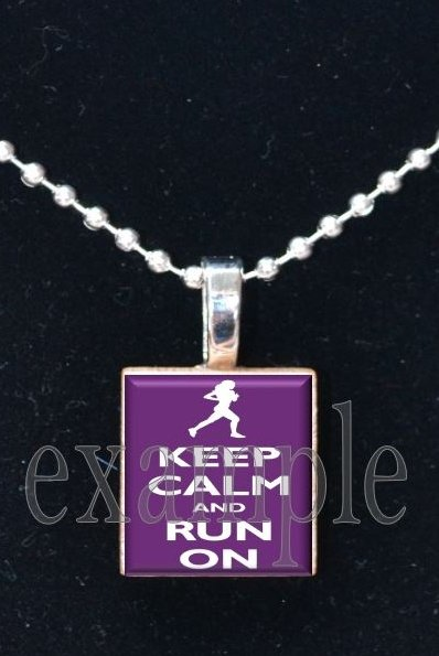 Keep Calm and Run On Scrabble Tile Pendant Necklace Charm Key-chain