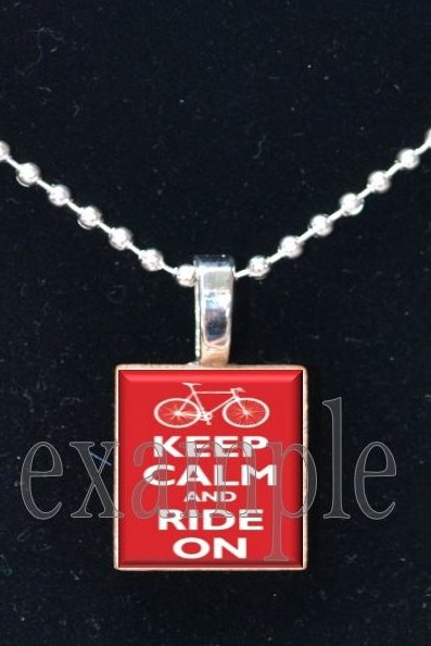 Keep Calm and Ride On Scrabble Tile Pendant Necklace Charm Key-chain