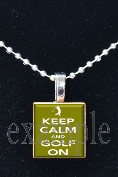 Keep Calm and Golf On Scrabble Tile Pendant Necklace Charm Key-chain