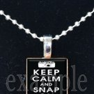 Keep Calm and Snap On Scrabble Tile Pendant Necklace Charm Key-chain