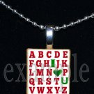 ABC I LOVE U School Teacher Scrabble Necklace Pendant Charm or Key-chain Great Gift
