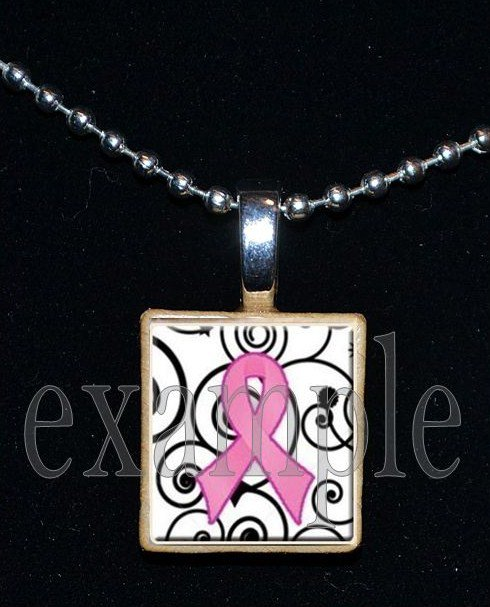 BREAST CANCER Awareness Ribbon Scrabble Tile Pendant Necklace Charm Key-chain