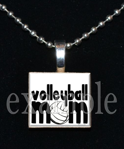 VOLLEYBALL MOM Scrabble Tile Pendant Necklace Charm or Key-chain