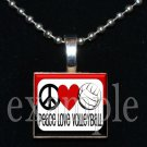 PEACE LOVE VOLLEYBALL Scrabble Tile Pendant Necklace Charm or Key-chain