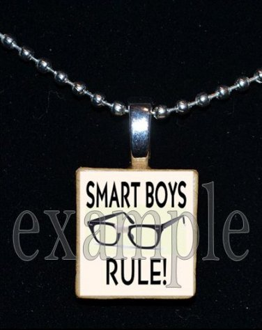 SMART BOYS RULE Scrabble Necklace Pendant Charm Key-chain Gift