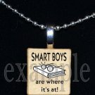SMART BOYS ARE WHERE ITS AT Scrabble Necklace Pendant Charm Key-chain Gift