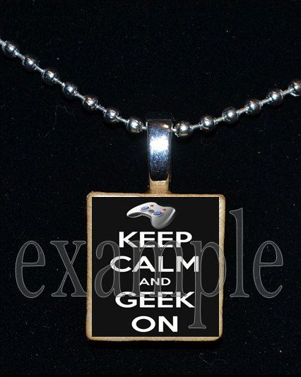 KEEP CALM and GEEK ON Scrabble Necklace Pendant Charm Key-chain Gift