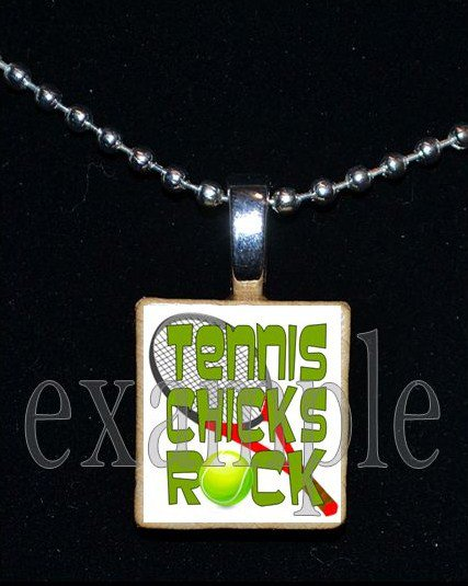 TENNIS CHICKS ROCK Scrabble Necklace Pendant Charm or Key-chain Gift