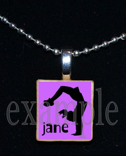 Gymnastics GYM Team Personalized NAME Scrabble Necklace Pendant Charm Key-chain Gift