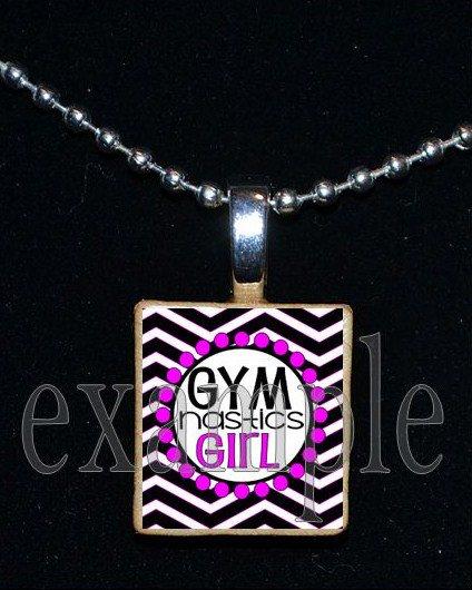 Gymnastics GYM Girl Scrabble Necklace Pendant Charm Key-chain Gift