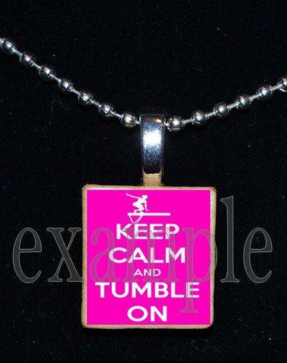 KEEP CALM & TUMBLE ON Gymnastics GYM Scrabble Necklace Pendant Charm or Key-chain