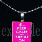 KEEP CALM & TUMBLE ON Gymnastics GYM Scrabble Necklace Pendant Charm or Key-chain