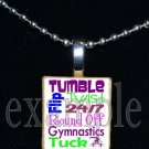 Gymnastics GYM Team Personalized SUBWAY ART Scrabble Necklace Pendant Charm Key-chain Gift