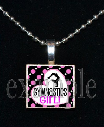 Gymnastics Girl GYM Team Scrabble Necklace Pendant Charm Key-chain Gift