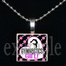 Gymnastics Girl GYM Team Scrabble Necklace Pendant Charm Key-chain Gift
