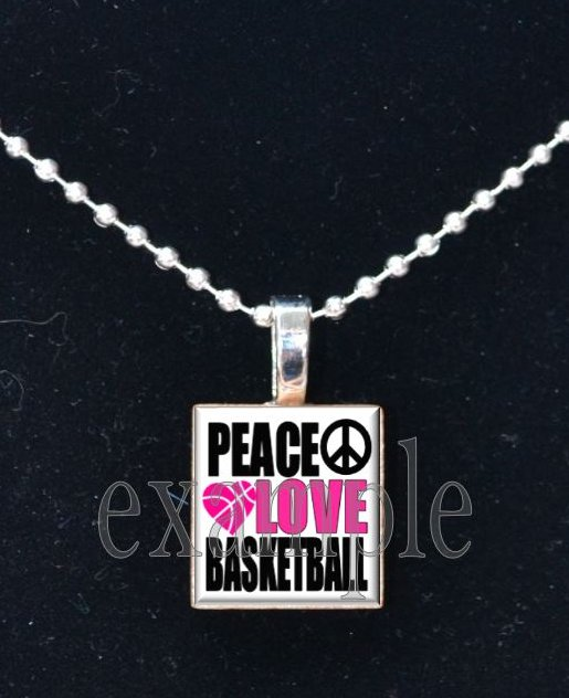 PEACE LOVE BASKETBALL Scrabble Necklace Pendant Charm Key-chain
