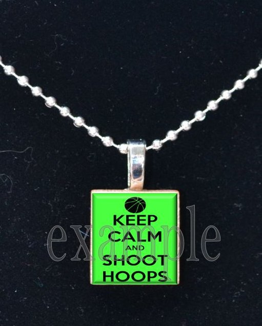KEEP CALM AND SHOOT HOOPS BASKETBALL Scrabble Necklace Pendant Charm or Key-chain