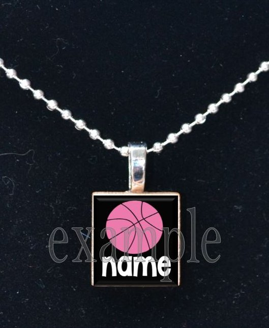 PERSONALIZED BASKETBALL NAME Scrabble Necklace Pendant Charm or Key-chain
