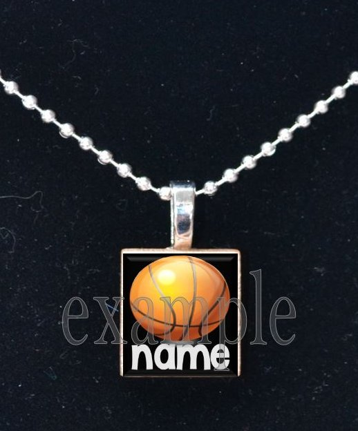 BASKETBALL Personalized NAME Team Jersey Scrabble Necklace Pendant Charm or Key-chain