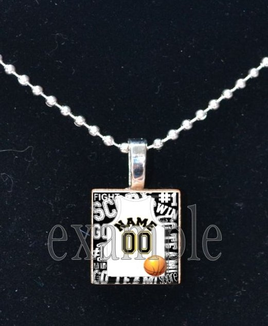 BASKETBALL Personalized Team JERSEY Scrabble Necklace Pendant Charm OR Key-chain