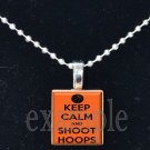 KEEP CALM AND SHOOT HOOPS Scrabble Necklace Pendant Charm or Key-chain