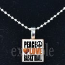PEACE LOVE BASKETBALL Scrabble Necklace Pendant Charm or Key-chain