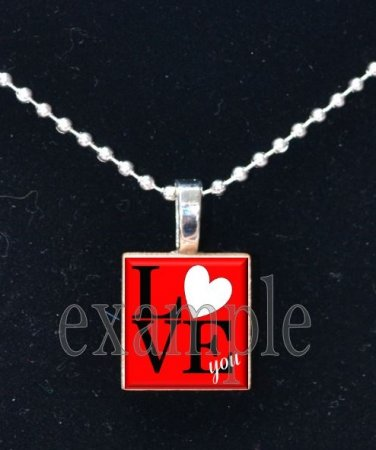 LOVE Sweetheart xOx Personalized Scrabble Tile Pendant Necklace Charm Key-chain