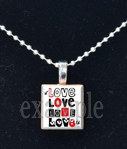 LOVE Sweetheart xOx Scrabble Tile Pendant Necklace Charm Key-chain