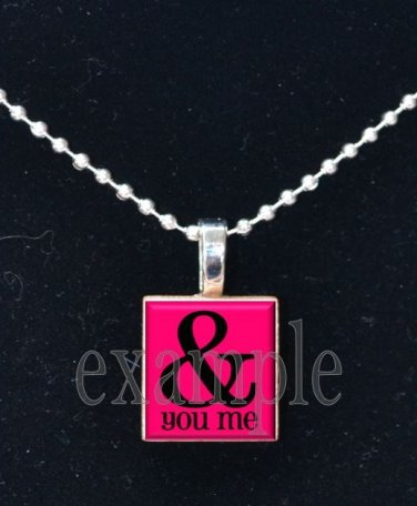 LOVE Sweetheart xOx ME & U Scrabble Tile Pendant Necklace Charm Key-chain
