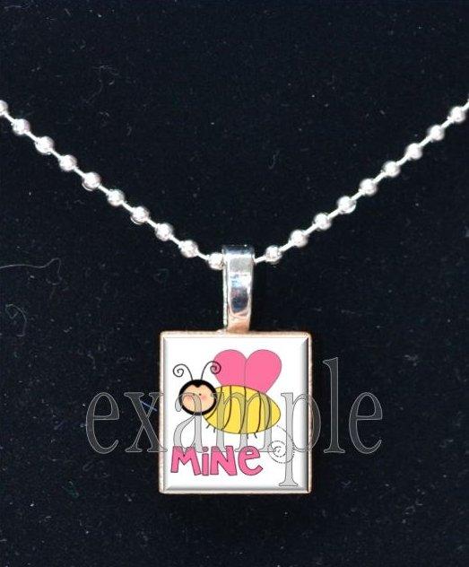 LOVE Sweetheart xOx BE MINE Scrabble Tile Pendant Necklace Charm Key-chain