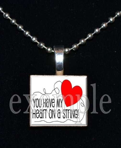 YOU HAVE MY HEART ON A STRING LOVE Sweetheart xOx Scrabble Tile Pendant Necklace Charm Key-chain