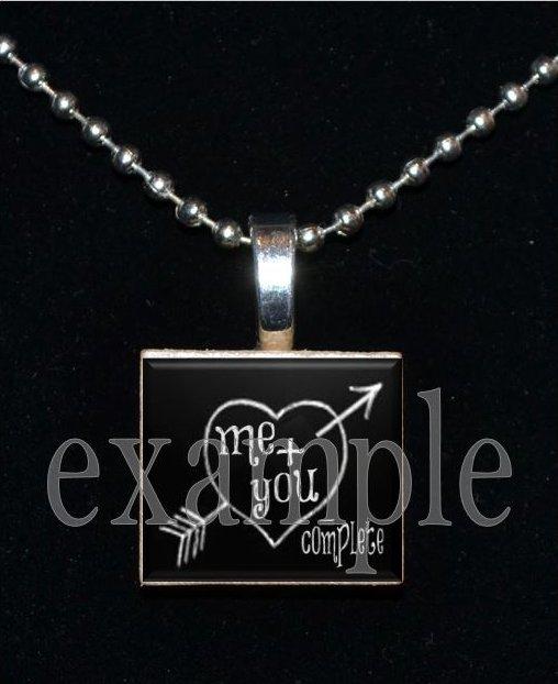 LOVE Sweetheart xOx Personalized CHALK HEART Scrabble Tile Pendant Necklace Charm Key-chain