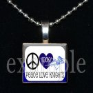 PEACE LOVE ROCKY BAYOU KNIGHTS School Team Mascot Pendant Choices