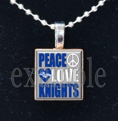 """Peace Love Knights"" ROCKY BAYOU KNIGHTS School Team Mascot Pendant Choices"