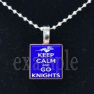 """Keep Calm and Go Knights"" ROCKY BAYOU KNIGHTS School Team Mascot Pendant Choices"