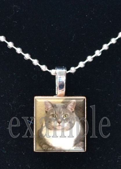 Personalized Custom ANY Image Pet CAT/KITTEN Tile Pendant Necklace Charm or Key-chain