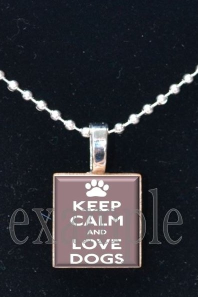 Keep Calm and Love Dogs Tile Pendant Necklace Charm Key-chain