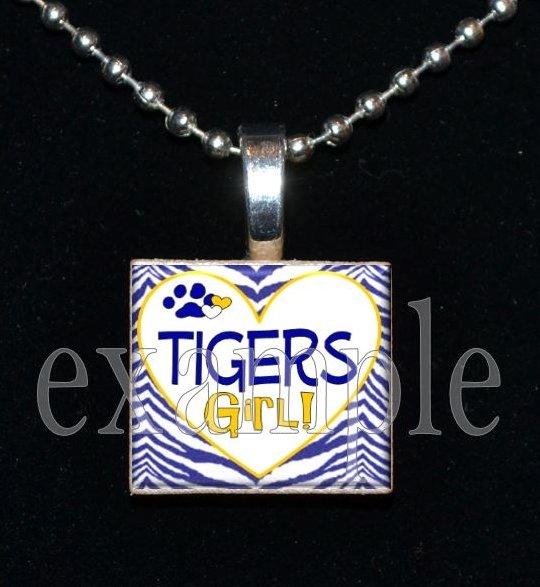 LULA J EDGE TIGERS GIRL School Team Mascot Pendant Necklace Charm or Keychain