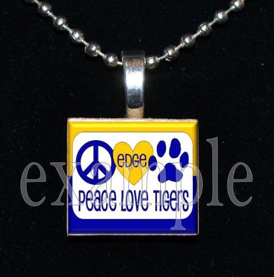 LULA J EDGE PEACE LOVE TIGERS School Team Mascot Pendant Necklace Charm or Keychain