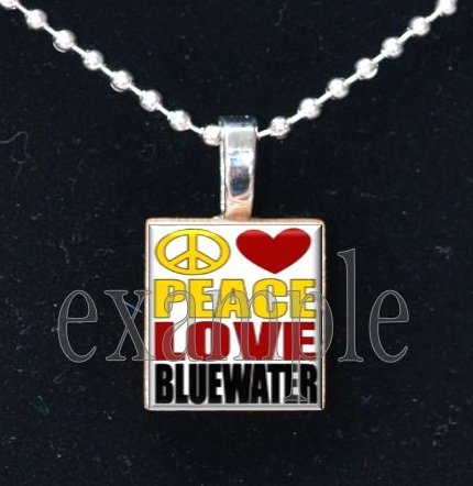 PEACE LOVE BLUEWATER SEMINOLES Elementary School Team Mascot Pendant Necklace Charm or Keychain