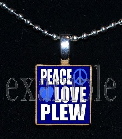 PEACE LOVE JAMES E PLEW PANTHERS Elementary School Team Mascot Pendant Necklace Charm or Keychain