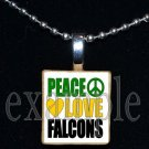 PEACE LOVE ADDIE R LEWIS FALCONS School Team Mascot Pendant Necklace Charm or Keychain