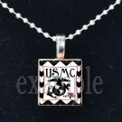 USMC MARINE WIFE »-(¯`v´¯)-» MILITARY Scrabble Tile Pendant Necklace Charm or Keychain