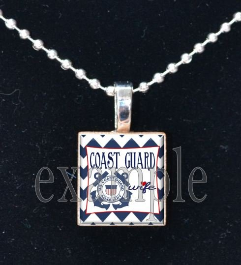 COAST GUARD WIFE »-(¯`v´¯)-» MILITARY Scrabble Tile Pendant Necklace Charm or Keychain